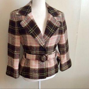 Cabi Kate Plaid Wool Blend Jacket Coat Pink Brown
